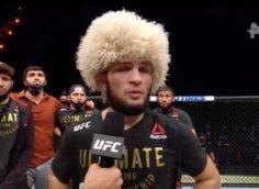 Хабиб в третий раз отстоял титул чемпиона UFC в легком весе, видео боя